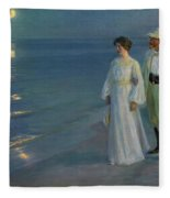 Summer Evening On The Beach At Skagen The Artist And His Wife Fleece Blanket