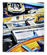 Summer Fishing Boats Fleece Blanket