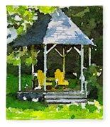 Summer Gazebo With Yellow Chairs Fleece Blanket