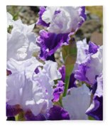 Summer Iris Garden Art Print White Purple Irises Flowers Baslee Troutman Fleece Blanket