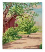 Summer Landscape With Hens Fleece Blanket