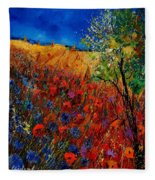 Summer Landscape With Poppies  Fleece Blanket