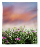 Summer Meadow Flowers In Grass At Sunset. Fleece Blanket