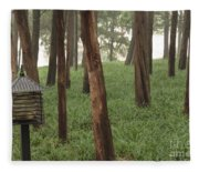 Summer Palace Trees And Lamp Fleece Blanket