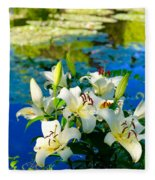 Summer Pond French Lilies Fleece Blanket
