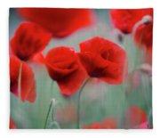 Summer Poppy Meadow 2 Fleece Blanket