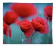 Summer Poppy Meadow 3 Fleece Blanket