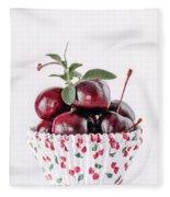 Summer Red Cherries Fleece Blanket
