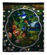 Summer Stained Glass Panel Fleece Blanket