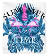 Summer Time Tropical  Fleece Blanket