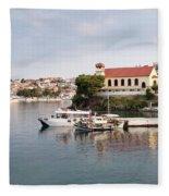 summer vacation scene Neos Marmaras Greece Fleece Blanket