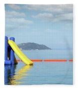 Summer Vacation Scene With Water Slide  Fleece Blanket