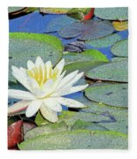 Summer Water Lily Fleece Blanket