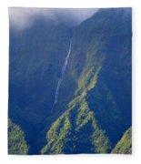 Summer Waterfall Behind Hanalei Bay Fleece Blanket