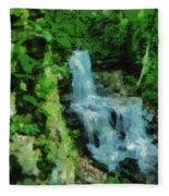 Summer Waterfall In West Milton Fleece Blanket
