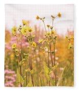 Summer Wildflower Field Of Sunflowers Fleece Blanket