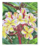 Summertime Kauai Island Plumeria Watercolor By Jenny Floravita Fleece Blanket