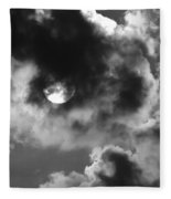 Sun And Clouds - Grayscale Fleece Blanket