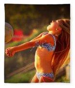 Sun Beach Girl Fleece Blanket