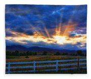 Sun Beams In The Sky At Sunset Fleece Blanket