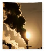 Sun Covered With Soot - Air Pollution Fleece Blanket