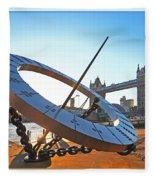 Sun Dial And Tower Bridge London Fleece Blanket