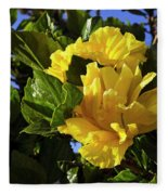 Sun-drenched Yellow Hibiscus Fleece Blanket