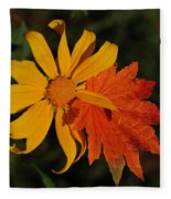 Sun Flower And Leaf Fleece Blanket