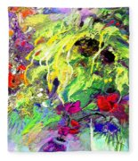 Sun Flower Bouquet Fleece Blanket