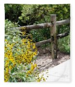 Sun Flower Fence Fleece Blanket