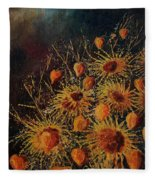 Sun Flowers And Physialis  Fleece Blanket