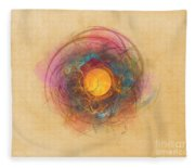 Sun Fractal Abstract Art Fleece Blanket