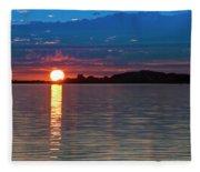 Sun Is Setting Over Port Hood Island Fleece Blanket