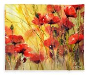 Sun Kissed Poppies Fleece Blanket