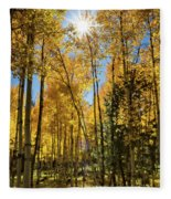Sun Peaking Through The Aspens  Fleece Blanket