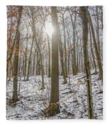 Sun Peaking Through The Trees - Fairmount Park Fleece Blanket