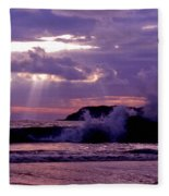 Sun Pokes Though Clouds By Stormy Sea Fleece Blanket