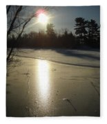 Sun Reflecting Off River Ice Fleece Blanket