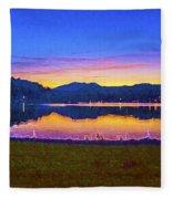 Sun Set On Lake Lure Fleece Blanket