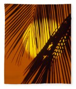 Sun Shining Through Palms Fleece Blanket