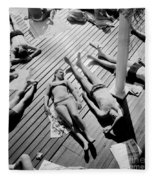 Sun Tanning At The Deligny Swimming Pool, Paris, June, 1963 Fleece Blanket