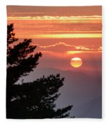 Sun Through The Clouds And Trees Sunset At The Mountains Fleece Blanket
