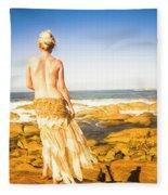 Sunbathing By The Sea Fleece Blanket
