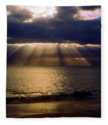Sunbeams Radiating Through Clouds Before Sunset Fleece Blanket