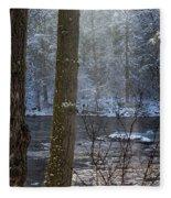 Sunbreak On A Snowy Day Fleece Blanket