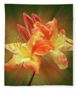 Sunburst Orange Azalea Fleece Blanket