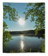 Sunburst Over The Reservoir Fleece Blanket