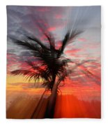 Sunburst Through Palm Tree Fleece Blanket
