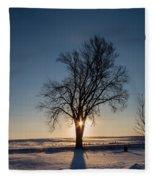 Sundogs Around A Tree Fleece Blanket