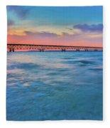 Sundown At Mackinac Bridge Fleece Blanket